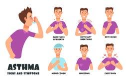 Симптомы астмы с кашлять персона шаржа Астматический вектор проблем infographic иллюстрация штока