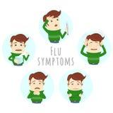 Симптомы простуды гриппа инфлуензы Человек страдает холод, лихорадку Стоковые Фото