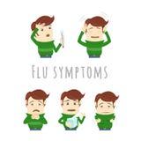 Симптомы простуды гриппа инфлуензы Человек страдает холод, лихорадку Стоковые Изображения RF