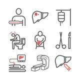 Симптомы Cencer печени Причины Диагностики Линия набор значков Знаки вектора для графиков сети стоковое изображение