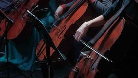 Симфоничная игра виолончели оркестра в большой зале видеоматериал