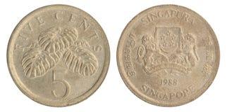 Сингапурская монетка цента Стоковые Изображения RF