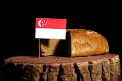 Сингапурский флаг на пне с хлебом Стоковое фото RF