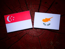 Сингапурский флаг с кипрскым флагом на изолированном пне дерева Стоковая Фотография