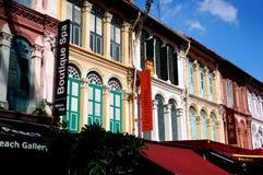 Сингапур: Дома улицы пагоды в Чайна-тауне Стоковое фото RF
