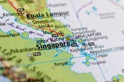Сингапур на карте Стоковые Фото