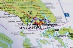 Сингапур на карте Стоковые Изображения