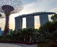 Сингапур - 28-ое апреля 2014: Марина Bai зашкурит гостиницу на заходе солнца стоковое изображение rf