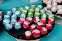 Сине- красно- зеленая пустыня яблока или тайский десерт стоковая фотография