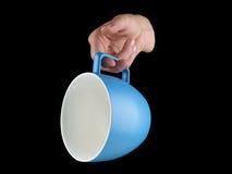 Сине- морская чашка цвета - mug на черной предпосылке Стоковые Фотографии RF