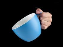 Сине- морская чашка цвета - mug на черной предпосылке Стоковая Фотография
