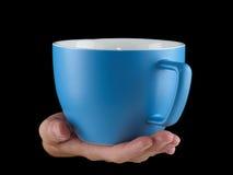 Сине- морская чашка цвета - mug на черной предпосылке Стоковая Фотография RF