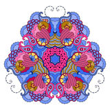 Сине-розовая мандала на белой предпосылке Стоковая Фотография