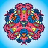 Сине-розовая мандала на голубой предпосылке Стоковое Фото