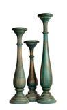 3 сине-серых винтажных деревянных подсвечника Стоковые Изображения RF