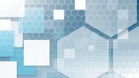 Синие и белые шестиугольники и квадраты на синем иллюстрация вектора