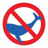 Синие киты запрета знака иллюстрация вектора