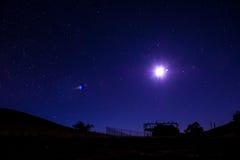 Синие небо и звезды Стоковая Фотография RF