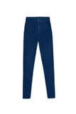 Синие тощие высокие брюки джинсов талии, изолированные на белом backg Стоковая Фотография RF