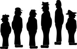 синий воротничок silhouettes работники Стоковые Изображения