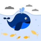 Синий кит с spout под водой иллюстрация штока