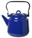 Синий покрытый эмалью чайник изолированный на белой предпосылке Стоковые Фотографии RF