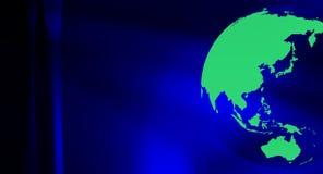Синий черный глобус мира перемещения зеленого цвета предпосылки Стоковые Изображения RF