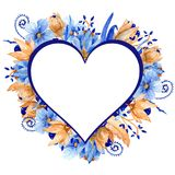 Синь акварели и рамка золота флористическая Элегантная рамка акварели! Стоковое фото RF