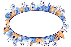 Синь акварели и рамка золота флористическая Элегантная рамка акварели! Стоковое Фото