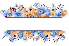 Синь акварели и рамка золота флористическая Элегантная рамка акварели! Стоковые Фотографии RF