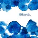 Синь акварели объезжает абстрактную рамку Стоковая Фотография RF