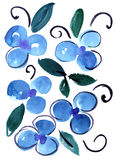Синь акварели цветет картина впечатления Стоковое фото RF