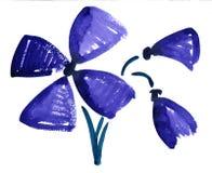Синь акварели цветет картина впечатления иллюстрация штока