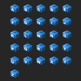 синь алфавита cubes тема Стоковое Изображение