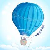 синь воздушного шара изолированная над белизной Иллюстрация вектора