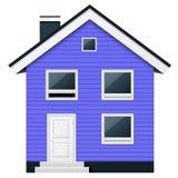Синь, двухэтажный деревянный таунхаус в скандинавском стиле Стоковая Фотография