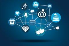 Синь графической сети вектора Wedding Стоковые Изображения RF