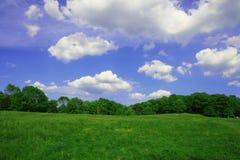 синь заволакивает белизна неба зеленого холма Стоковые Фото
