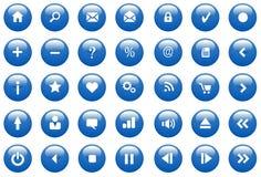 синь застегивает лоснистые иконы Стоковые Изображения RF