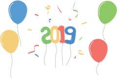 Синь зеленого цвета 2019 воздушных шаров желтая красная иллюстрация штока