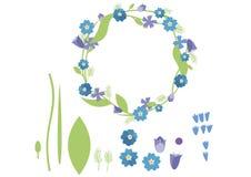 Синь зеленого цвета лета пакета плоского венка цвета doodle мультфильма печати установленная иллюстрация штока