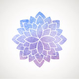 Синь и фиолет цветка лотоса акварели Стоковые Изображения