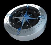 Синь компаса на черноте Стоковое Фото