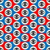 Синь конспекта безшовная красная, черно-белая геометрическая картина с моргать глазами бесплатная иллюстрация