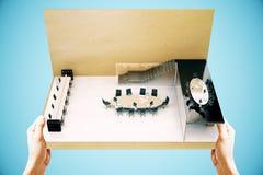 Синь конференц-зала миниатюрная Стоковое Изображение RF