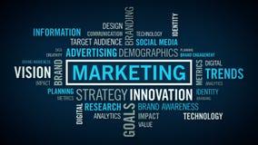Синь облака слова маркетинга иллюстрация вектора