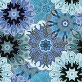 Синь покрасила безшовную картину с восточным флористическим орнаментом Флористический восточный дизайн в ацтеке, turkish, Пакиста Стоковое Изображение RF