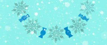 Синь предпосылки зимы знамени праздничная с влиянием снега Стоковое фото RF