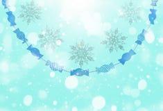 Синь предпосылки зимы праздничная с влиянием снега Стоковые Изображения