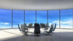 синь предводительствует древесину таблицы конференц-зала Современный офис с окнами иллюстрация 3d иллюстрация вектора